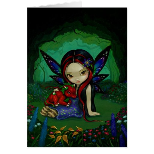 """Dragonling Garden I"" Greeting Card"
