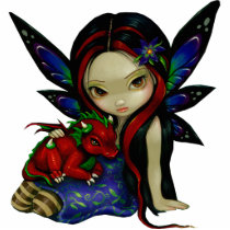 art, fantasy, eye, eyes, big eye, garden, fairy, wing, wings, butterfly, flower, flowers, night, forest, woods, nature, dragonling, dragonlings, dragon, baby dragon, baby, dragon fairy, dragons, big eyed, jasmine, becket-griffith, becket, griffith, jasmine becket-griffith, jasmin, strangeling, artist, goth, gothic, gothic fairy, faery, fairies, faerie, fairie, Photo Sculpture with custom graphic design
