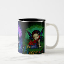 art, fantasy, eye, eyes, big eye, garden, fairy, wing, wings, animal, animals, fawn, deer, squirrel, rabbit, bunny, bunnies, frog, toad, bird, birds, cardinal, bluebird, forest, nature, dragon, ling, blue, green, dragonling, green dragon, nighttime, flower, flowers, night, woods, dragonlings, baby dragon, baby, Mug with custom graphic design