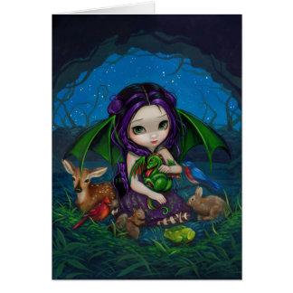 Dragonling tarjeta de felicitación del jardín III