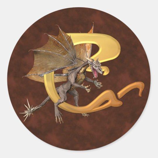 Dragonlore Initial C Classic Round Sticker