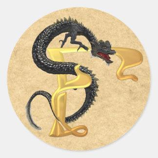Dragonlore Initial F Classic Round Sticker