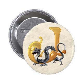 Dragonlore Initial J Pinback Button