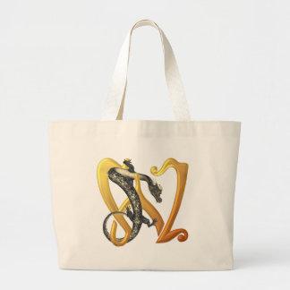 Dragonlore Initial W Large Tote Bag