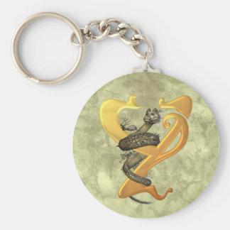 "Dragonlore Initial ""Y"" Basic Round Button Keychain"
