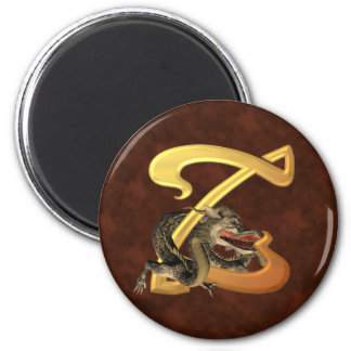 Dragonlore Initial Z 2 Inch Round Magnet