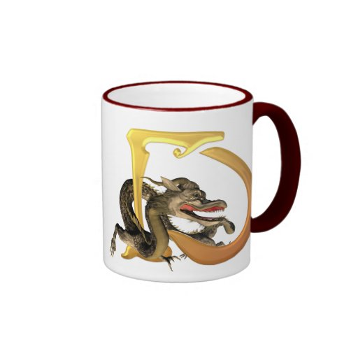 Dragonlore Initials D Ringer Coffee Mug