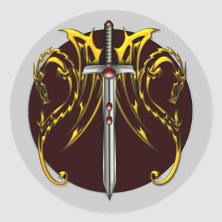 DRAGONS AND SWORD CLASSIC ROUND STICKER