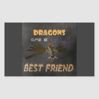DRAGONS ARE A STEAMPUNK GIRL'S BEST FRIEND RECTANGULAR STICKER