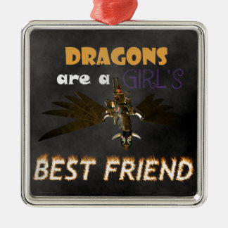 DRAGONS ARE A STEAMPUNK GIRL'S BEST FRIEND SQUARE METAL CHRISTMAS ORNAMENT