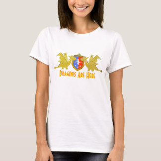 Dragons Are Here Cartoon Dragon Crest T-Shirt