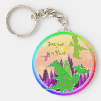 Dragons Are Here Cartoon Dragons Keychain