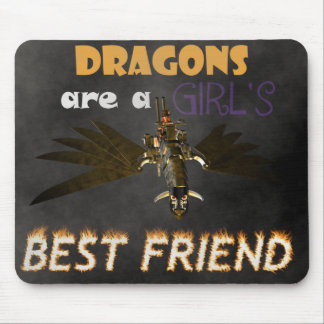 DRAGONS ARE STEAMPUNK GIRL'S BEST FRIEND MOUSEPAD