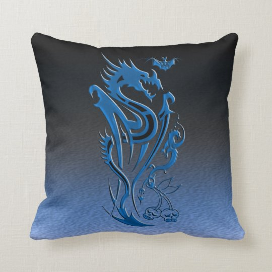 Dragons & Bat blue Throw Pillow
