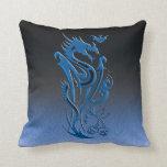 Dragons & Bat blue Throw Pillow