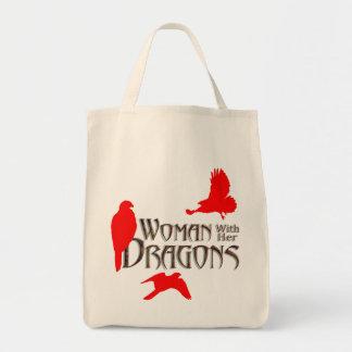 "dragons, ""birds of prey"" ""lady hawkers"" ""lady falc tote bag"