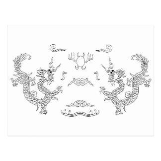 dragons-black and white postcard