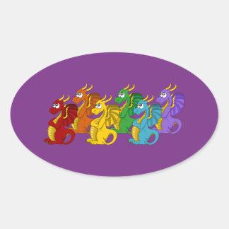 Dragons cartoon oval sticker