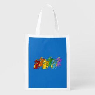 Dragons cartoon reusable grocery bags