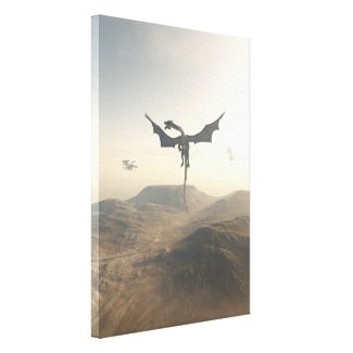Dragons Circling over Mountains Canvas Print