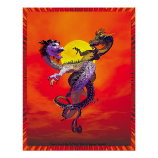 Dragons Dance Of Love By Michelle Wilder Posters
