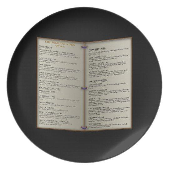 Dragon's Den Tavern Menu Plate
