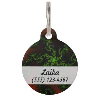 Dragon's Dream - green and red fractal art Pet Nametags