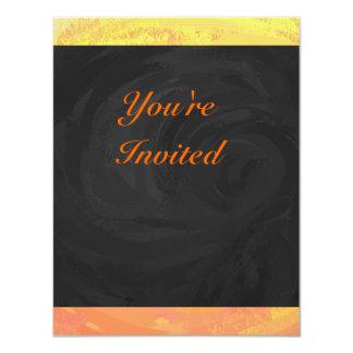 Dragons Eye Orange and Black Monogram 4.25x5.5 Paper Invitation Card