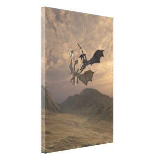 Dragons Fighting in a Mountain Landscape Canvas Print
