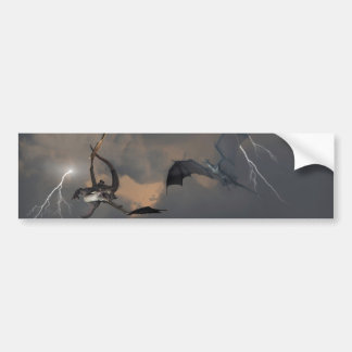 Dragons Fighting in Storm Clouds Bumper Stickers