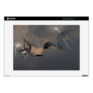 Dragons Fighting in Storm Clouds Laptop Skins