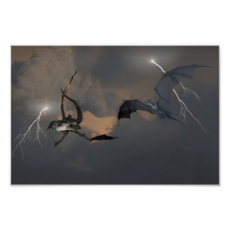 Dragons Fighting in Storm Clouds Poster