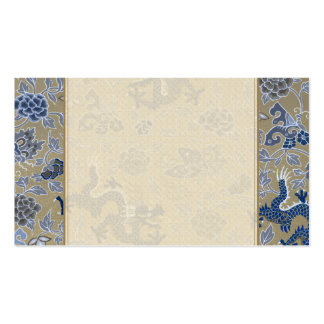 Dragons, Flowers, Butterflies - Blue on Dull Gold Double-Sided Standard Business Cards (Pack Of 100)