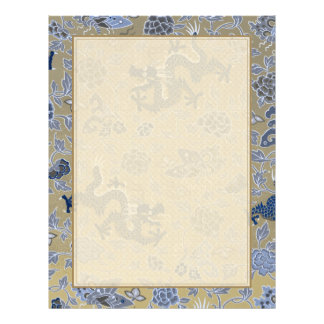 Dragons, Flowers, Butterflies - Blue on Dull Gold Custom Flyer