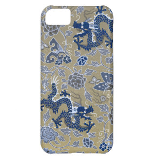 Dragons, Flowers, Butterflies - Blue on Dull Gold iPhone 5C Cover