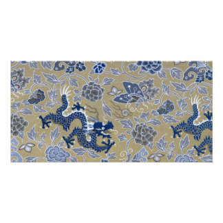 Dragons, Flowers, Butterflies - Blue on Dull Gold Photo Card