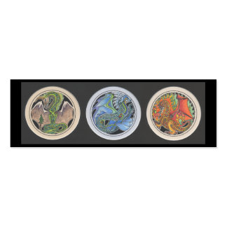 """""""Dragons in a Row"""" Bookmark Double-Sided Mini Business Cards (Pack Of 20)"""