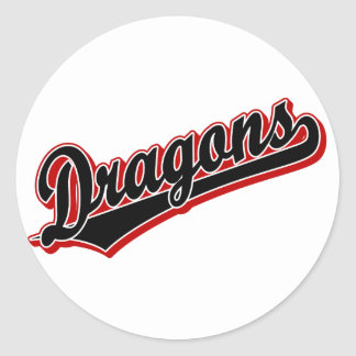 Dragons in Black and Red Classic Round Sticker