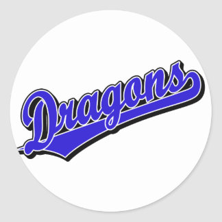 Dragons in Blue Classic Round Sticker