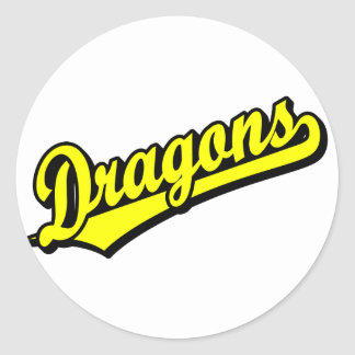 Dragons in Yellow Classic Round Sticker