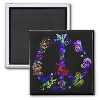 Dragons Of Peace 2 Inch Square Magnet