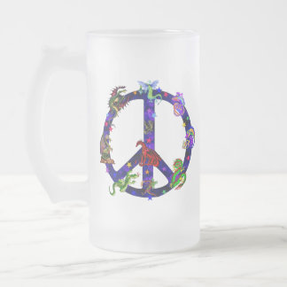 Dragons Of Peace Frosted Glass Beer Mug
