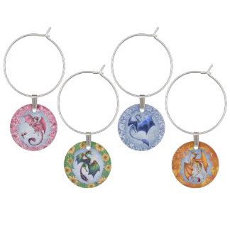 """Dragons of the Four Seasons"" Fantasy Art Wine Charm"