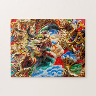 Dragons on temple in Bangkok Jigsaw Puzzle