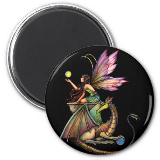 Dragon's Orbs Fairy and Dragon by Molly Harrison 2 Inch Round Magnet