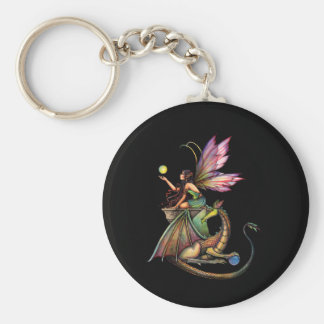 Dragon's Orbs Fairy and Dragon by Molly Harrison Basic Round Button Keychain