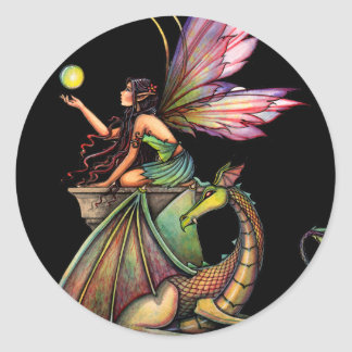 Dragon's Orbs Fairy and Dragon by Molly Harrison Classic Round Sticker