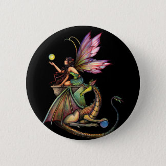 Dragon's Orbs Fairy and Dragon by Molly Harrison Pinback Button