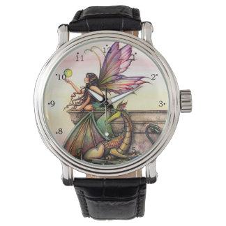 Dragon's Orbs Fairy and Dragon Fantasy Art Wrist Watches