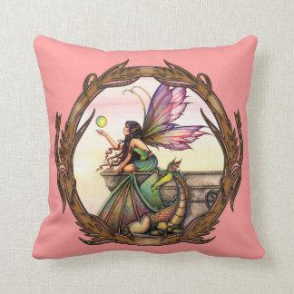 Dragon's Orbs Fairy and Dragon Throw Pillow